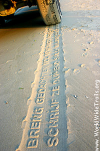Poems in the sand from the Vliehors express